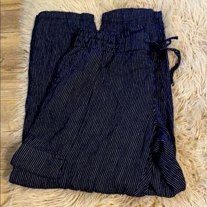 Mid-Rise Pinstriped Linen-Blend Cargo Pants